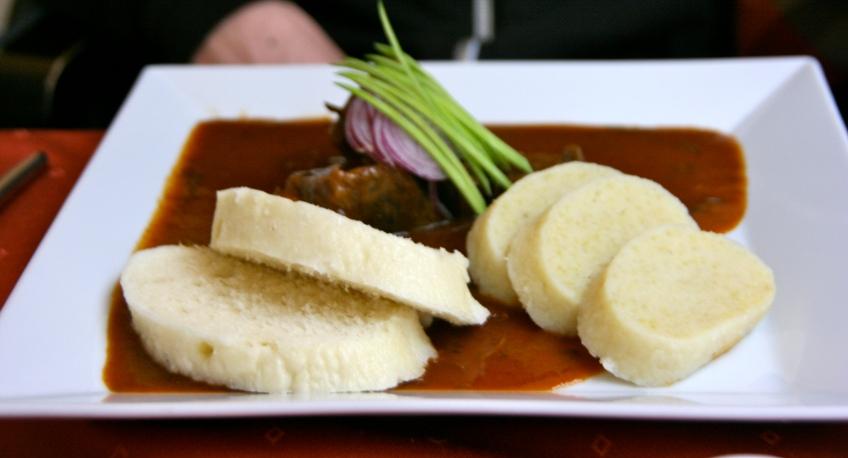 Czech Goulash Prague, potato dumplings