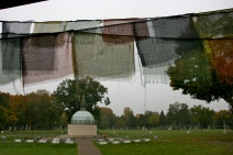 Stupa and Prayer Flags, Zentralfriedhof, Vienna, Austria