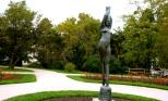 Salzburg, Mirabell Garden, statue, woman, roses