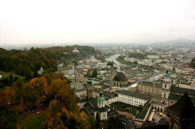 Salzburg in Fall, View, Salzburg,Austria, Foggy day