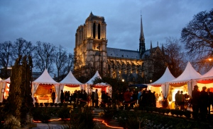 Paris Notre Dame Christmas Fair Night