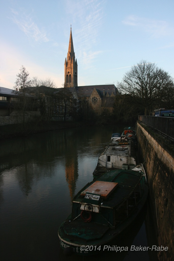 Bath Cathedral Steeple from the River Avon Bath England