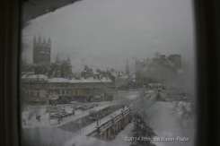 Bath Abbey covered in snow bath england